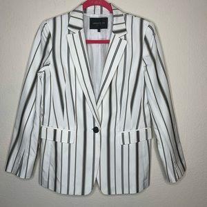 Lafayette 148 Striped One Button Blazer Size 4